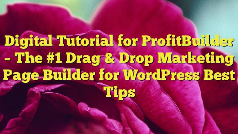 Digital Tutorial for ProfitBuilder – The #1 Drag & Drop Marketing Page Builder for WordPress Best Tips